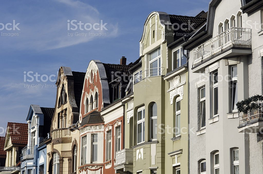 Row of beautiful townhouses royalty-free stock photo