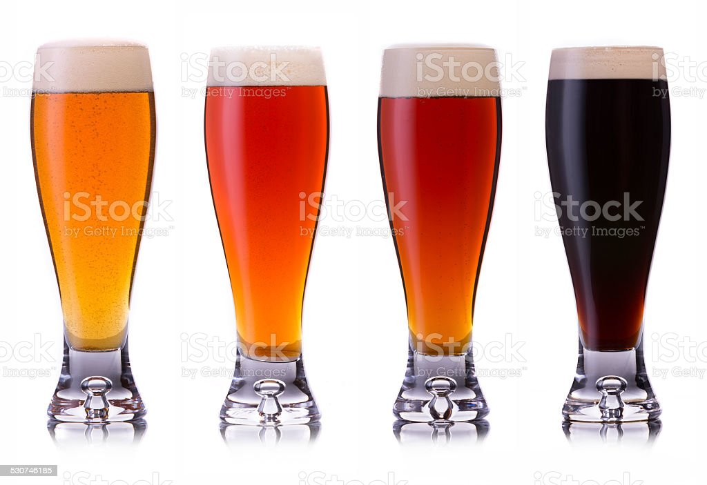 Row of Beer Glasses stock photo