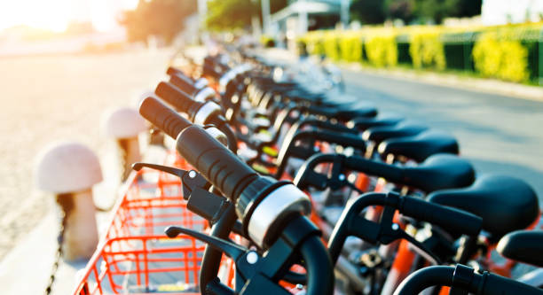 Row of bicycles parking on the sidewalk stock photo