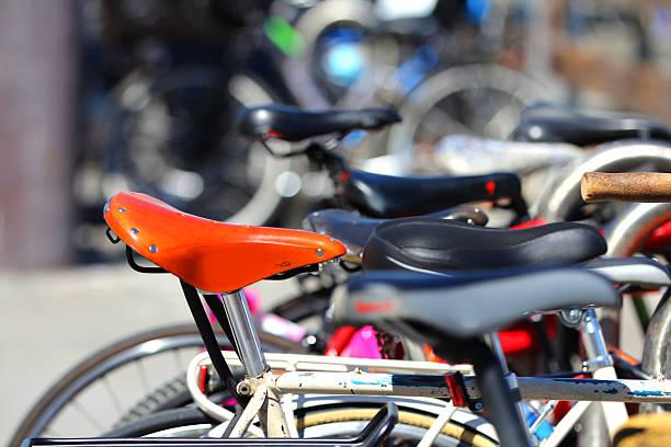 Row of bicycles. stock photo