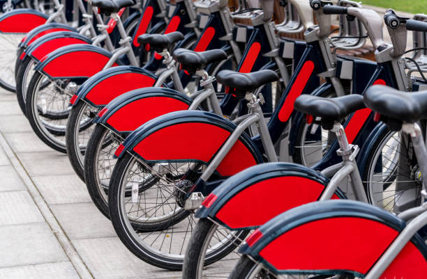 Row of bikes, London stock photo