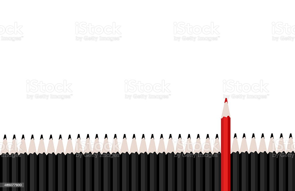 Row of black pencils with red pencil standing out. stock photo