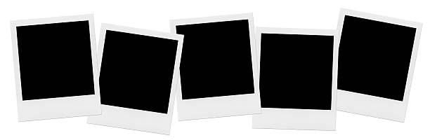 row of blank photo frames. - polaroid stockfoto's en -beelden