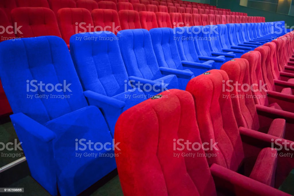 Row of blue chairs stock photo