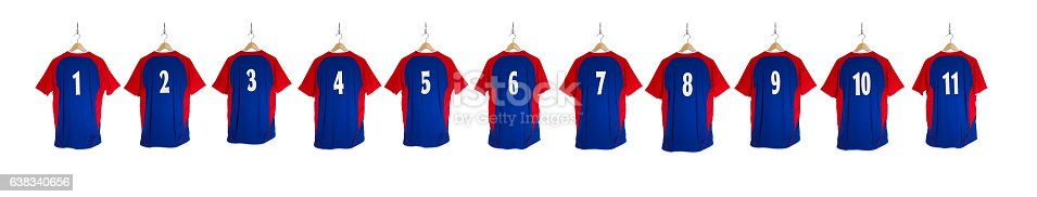 istock Row of Blue Red Football Shirts 1-11 638340656