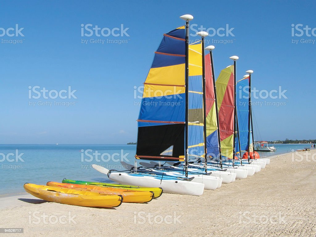 Row of boats in Jamaica stock photo