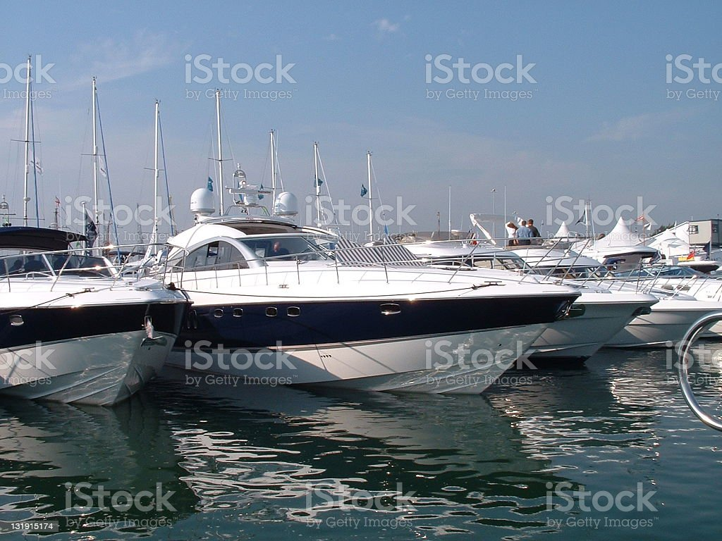 A row of boats lined up at Southampton boat show stock photo