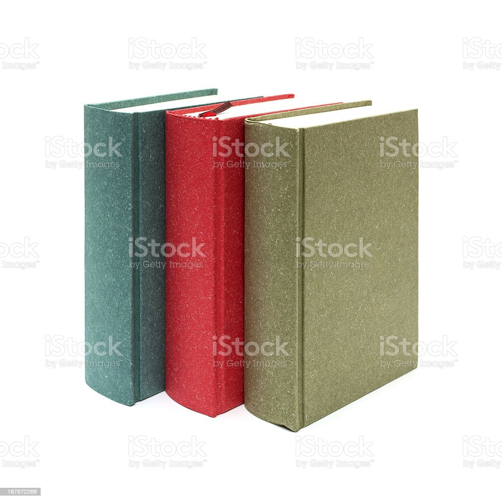 Row of books isolated on white background royalty-free stock photo