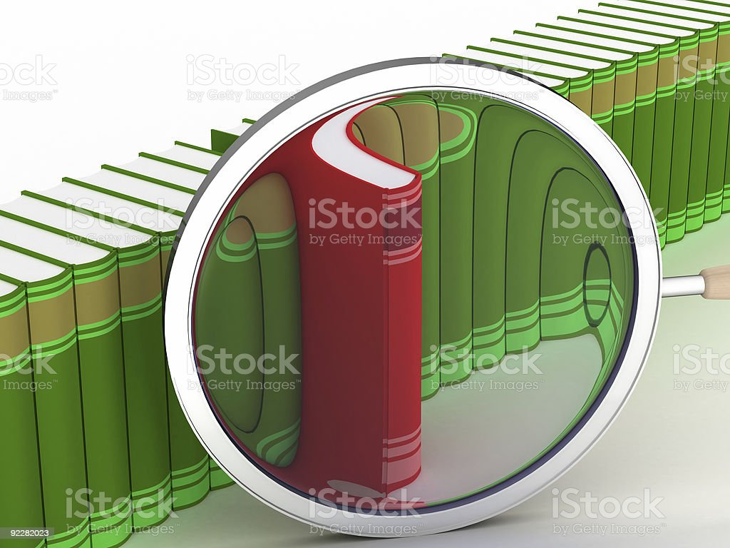 Row of books on a white background. 3D image. royalty-free stock photo