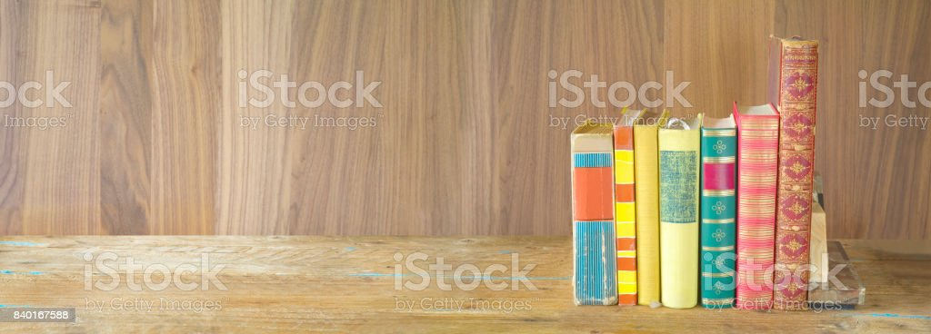 row of books, panorama format stock photo
