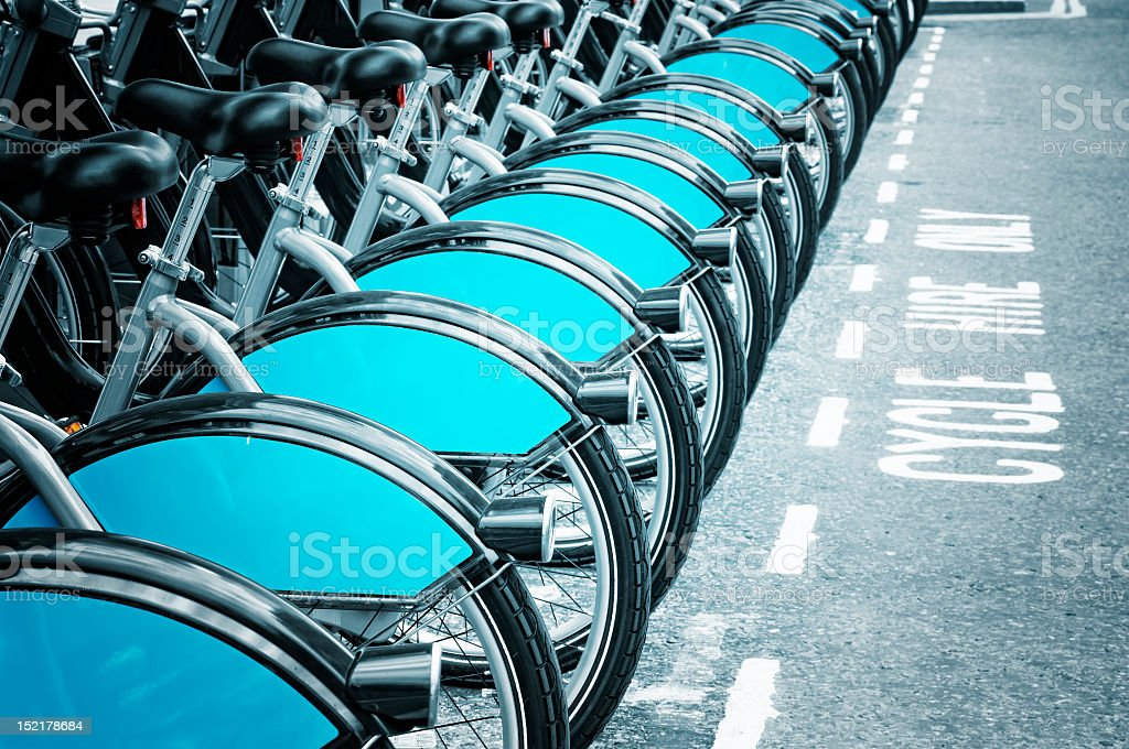 Row of Boris bikes for rent in London stock photo
