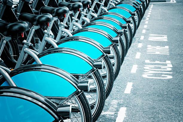 Row of Boris bikes for rent in London stock photo