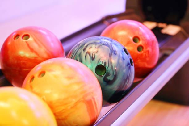 Row of bowling balls stock photo