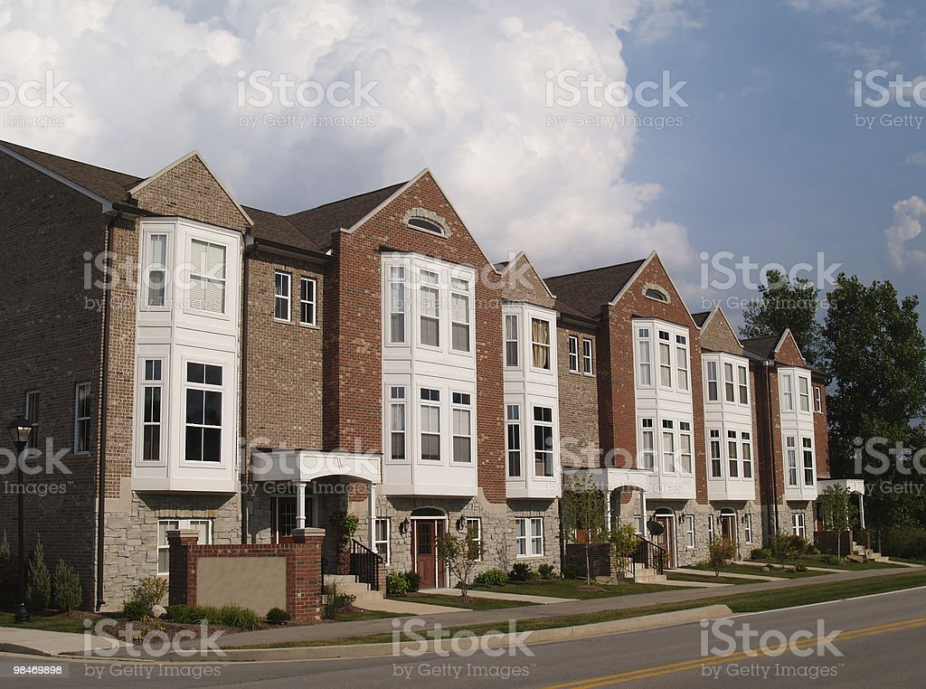 Row of Brick Condos With Bay Windows royalty-free stock photo