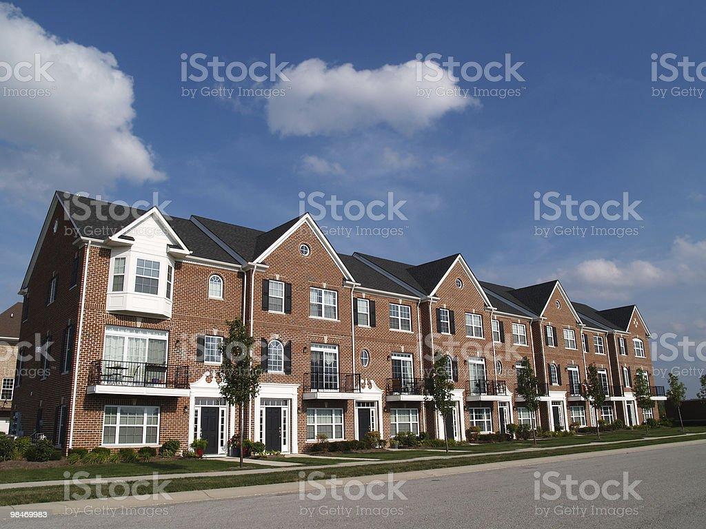 Row of Brick Condos With Bay Windows royalty-free stock photo