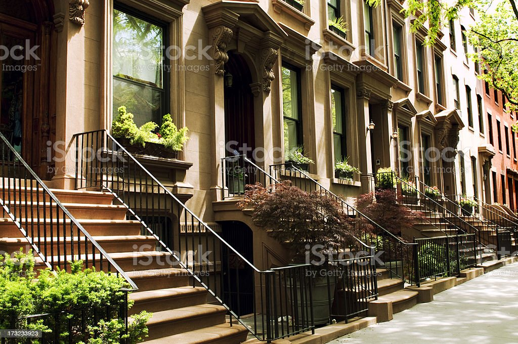 Row of Brownstones,NYC. stock photo