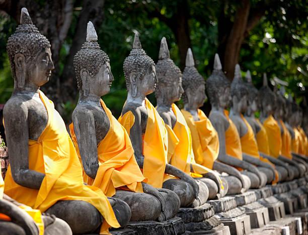 row of buddha images, wat chai mongkon, ayuthaya, thailand. - ayutthaya bölgesi stok fotoğraflar ve resimler
