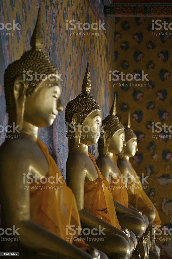Row of Buddhas stock photo