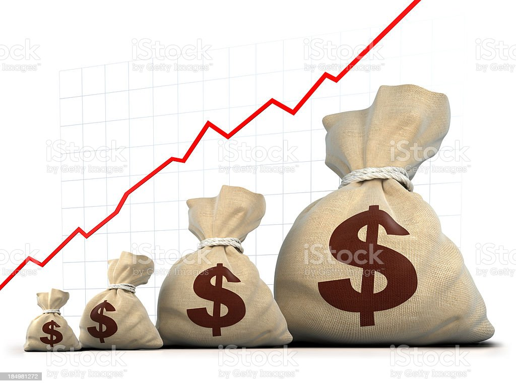 Row of burlap sacks of money increasing in size stock photo