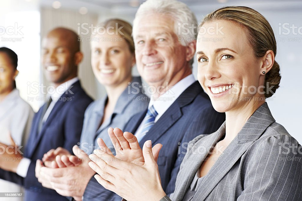 Row of Business People Clapping royalty-free stock photo