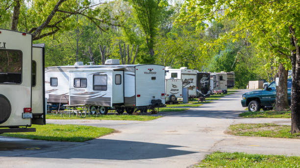 A row of camping trailers in an RV park. stock photo