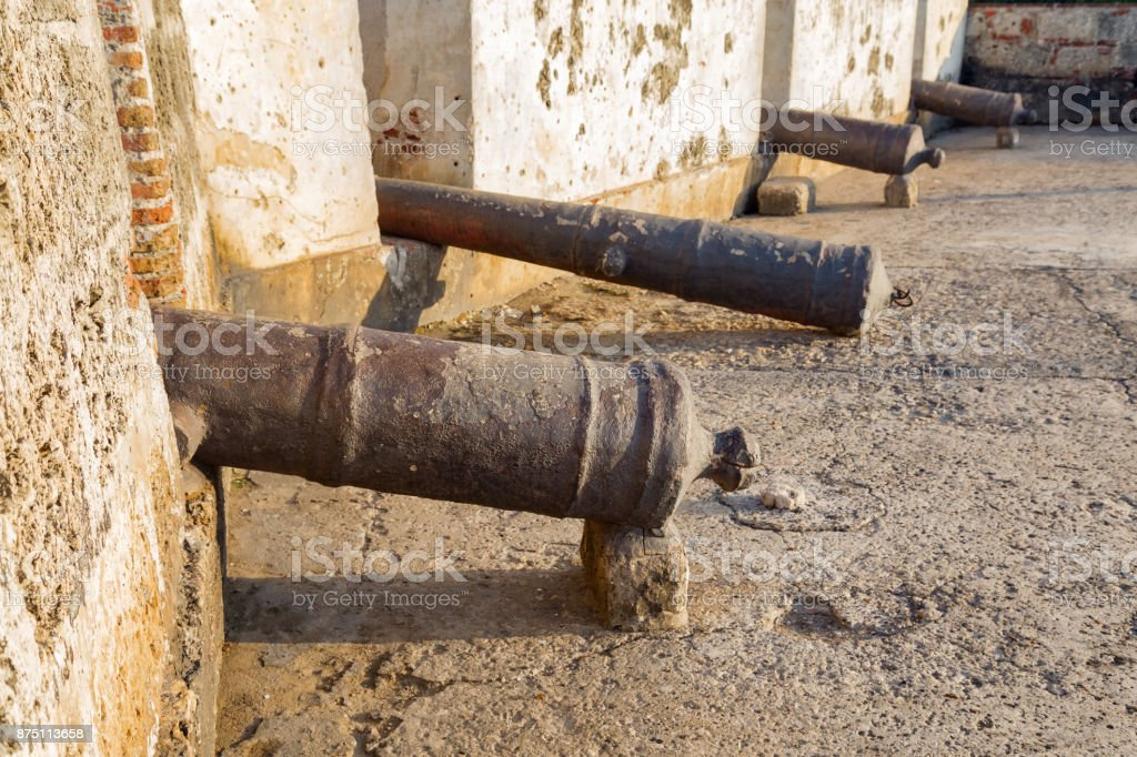 Row of Cannons stock photo