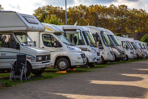 Row Of Caravan Vans On A Camp Ground Stock Photo - Download Image Now