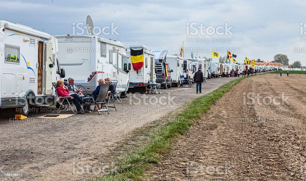 Row of Caravans at Paris Roubaix Cycling Race stock photo