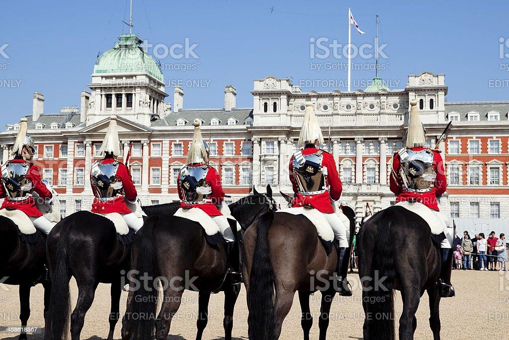 Row of cavalrymen at Horse Guards Parade royalty-free stock photo