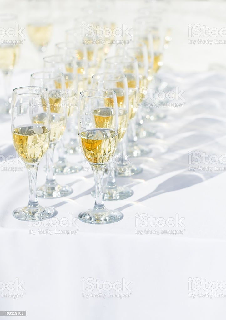 Row of champagne glasses royalty-free stock photo