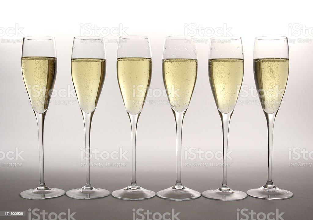 Row of Champagne in Glass Flutes for Celebration Gala Event royalty-free stock photo