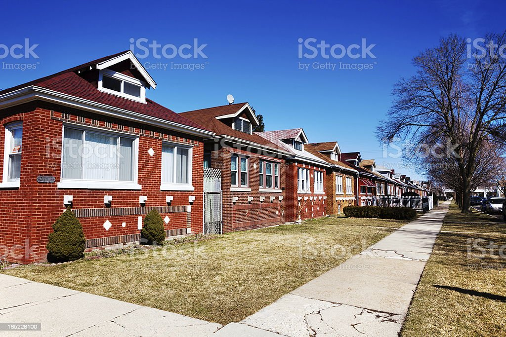 Row of Chicago Bungalows royalty-free stock photo