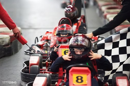 Competition for children karting indoors