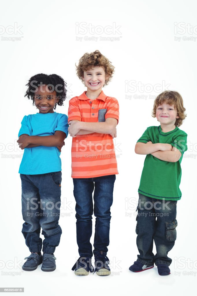 A row of children standing together stock photo