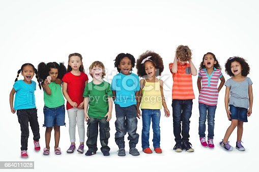 istock A row of children standing together 664011028