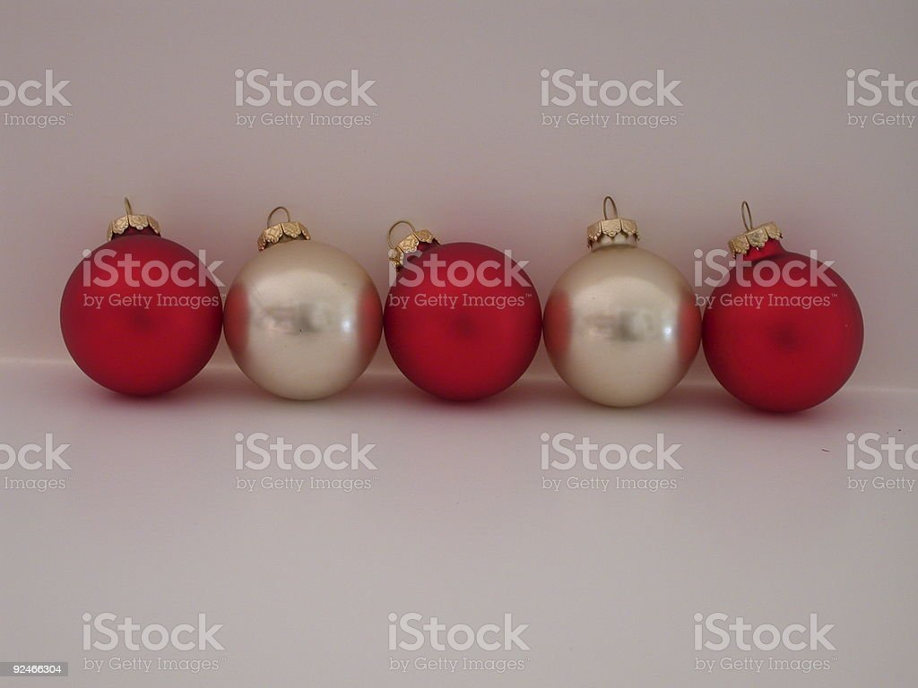 Row of Christmas Ornaments stock photo