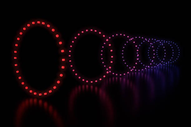 Row of circles LED light stock photo