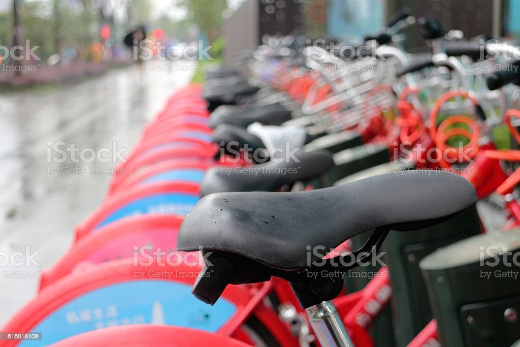 Row of City Bikes for Hire stock photo