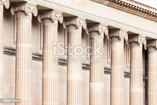 Top part of classical columns, capital, full frame horizontal composition