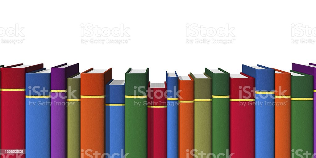Row of color books stock photo