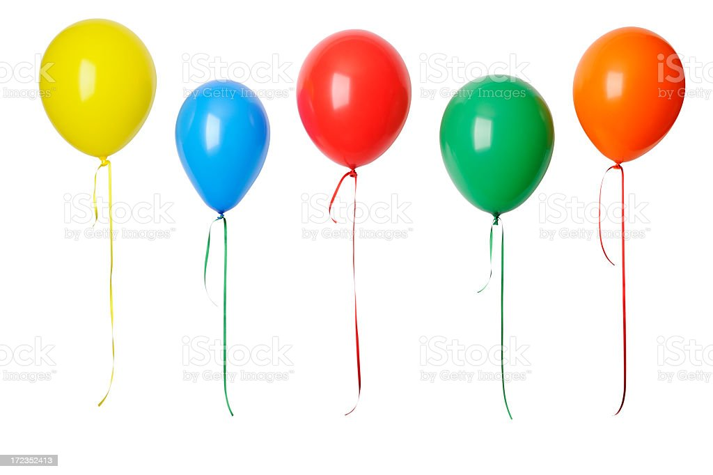 Row of colorful balloons in mid-air against white background bildbanksfoto