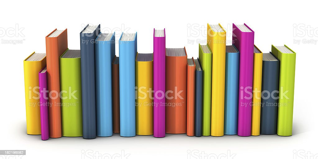 row of colorful books stock photo