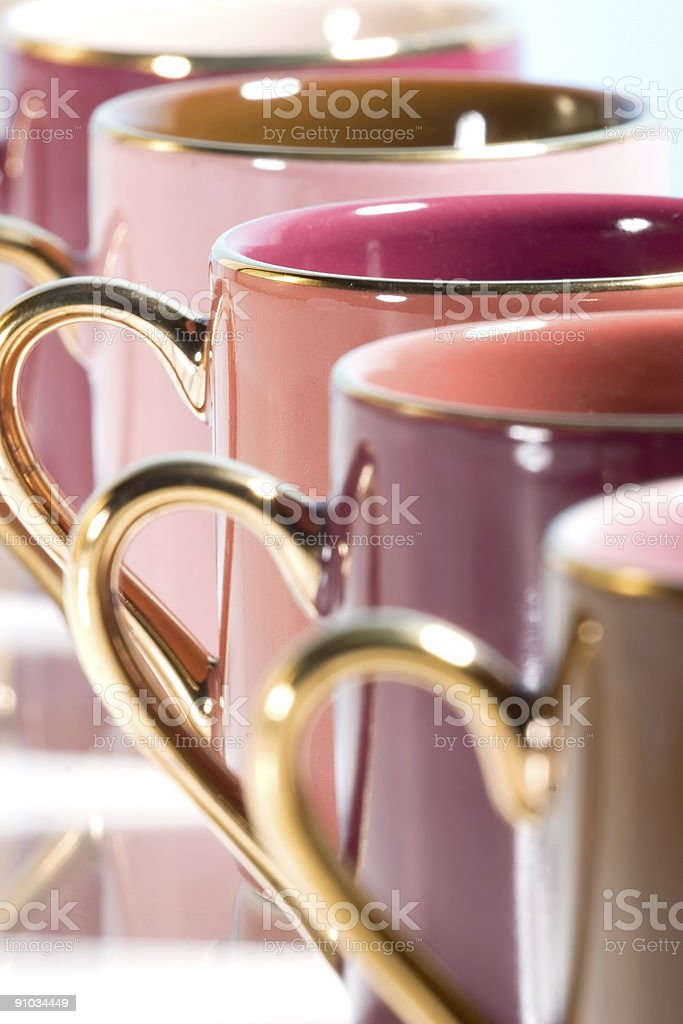 Row of colorful coffee cups royalty-free stock photo