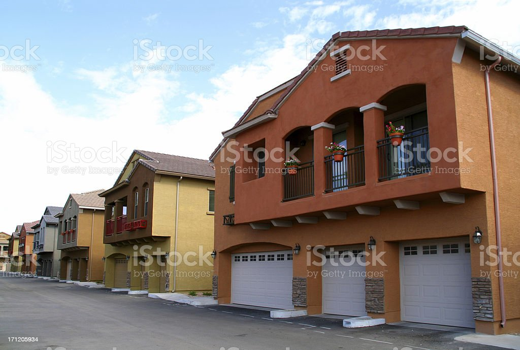 Row of Colorful Condos / Apartments 2 royalty-free stock photo