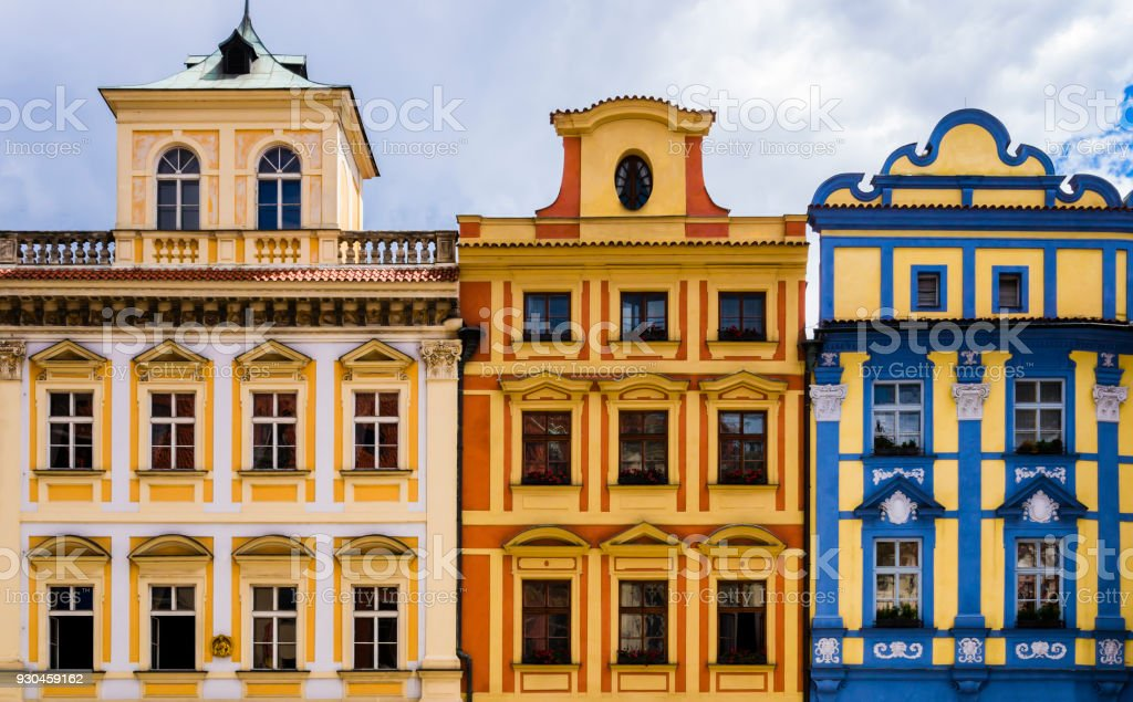 Row of colorful historical buildings in Prague old town square, Czech Republic stock photo