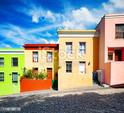 Row of colorful houses in Cape Town built on a hillside