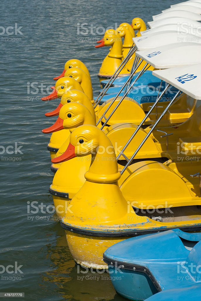 row of colorful pedal boats on a lake stock photo