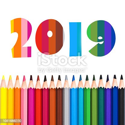 istock 2019, row of colorful pencils isolated on white background 1051686220