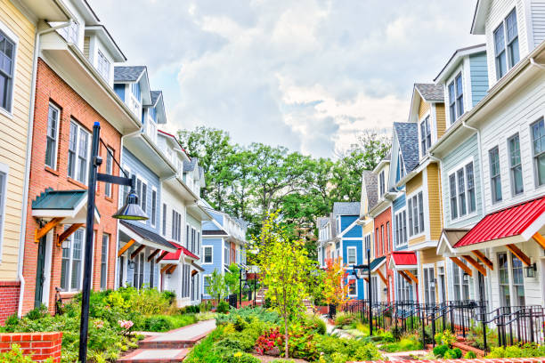 Row of colorful residential townhouses stock photo