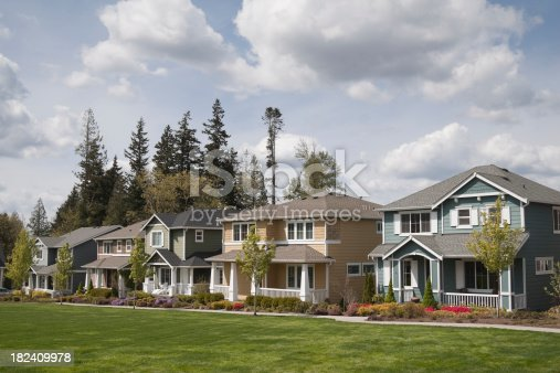 istock Row of colorful single family homes in suburb 182409978